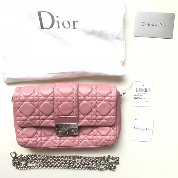 b5979bbeae60 Miss dior lamb leather pink wallet on chain cluth